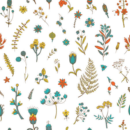 Vector seamless pattern with flowers and herbs. Botanical backdrop. Template for graphic design, textile and postcards