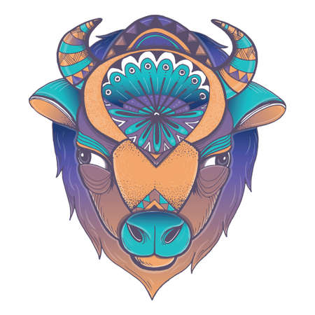 Vector illustration of buffalo head. Vector poster with bison in geometric style. Illustration