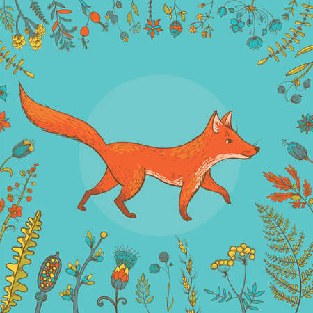 귀여운 여우의 식물과 꽃으로 둘러싸인 벡터 일러스트 레이 션.