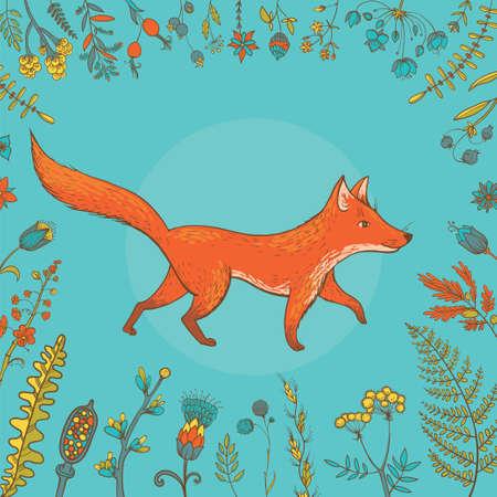 Vector illustratie van schattige vos omgeven door planten en bloemen.