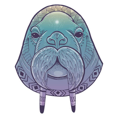 Vector illustration of walrus head. Vector poster with walrus in ornamental style. Illustration