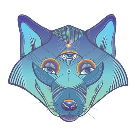Vector illustration of wolfs head. Vector poster with wolf in geometric style.