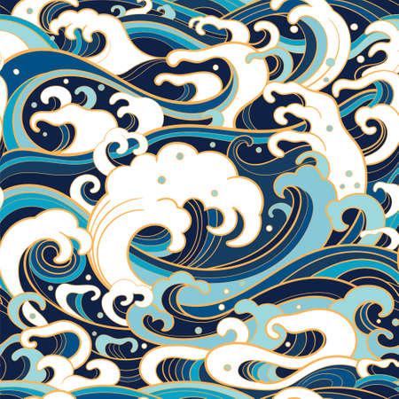 Traditionelle orientalische nahtlose Muster mit Ozean Wellen, Schaum, Spritzer. Vector Hintergrund Standard-Bild - 77304394