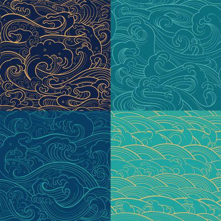 바다 파도, 거품, 밝아진와 전통적인 동양 원활한 컨투어 패턴. 벡터 배경