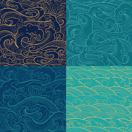 Traditional oriental seamless contour patterns with ocean waves, foam, splashes. Vector backgrounds Illusztráció