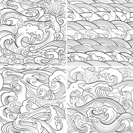 Traditional oriental seamless contour patterns with ocean waves, foam, splashes. Vector backgrounds Ilustração