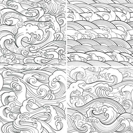 Traditionele oosterse naadloze contourpatronen met oceaangolven, schuim, spatten. Vector achtergronden Stock Illustratie