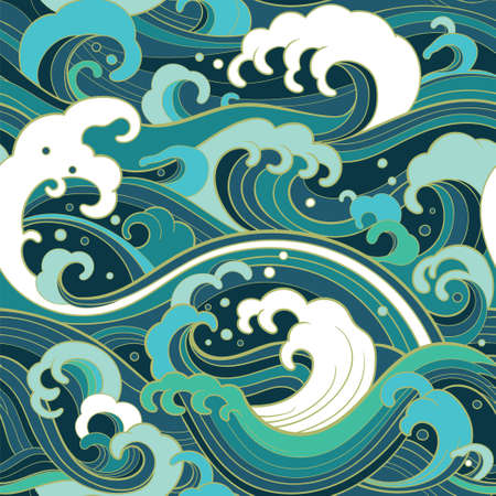 바다 파도, 거품, 밝아진와 전통적인 동양 원활한 패턴. 벡터 배경