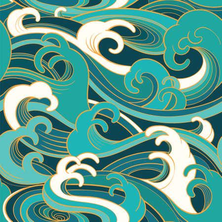 Traditioneel oosterse naadloze patroon met oceaan golven, schuim, spatten. Vector achtergrond