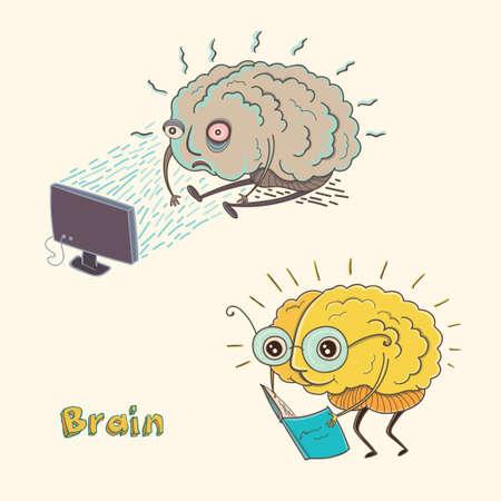 건강 하 고 아픈 인간의 두뇌의 만화 벡터 일러스트 레이 션. 아이들을위한 재미있는 교육 그림. 격리 된 문자입니다. 일러스트