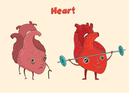 Cartoon vector illustration of healthy and sick human heart. Funny educational illustration for kids. Isolated characters.