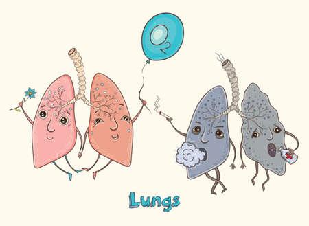 건강 하 고 아픈 인간의 폐의 만화 벡터 일러스트 레이 션. 아이들을위한 재미있는 교육 그림. 격리 된 문자입니다.