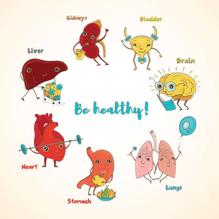 Cartoon vector illustration of healthy human organs. Funny educational illustration for kids. Isolated characters. Be healthy!
