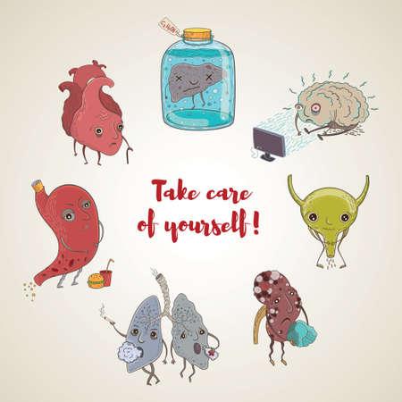 Cartoon vector illustratie van ongezonde menselijke organen. Grappige educatieve illustratie voor kinderen. Geïsoleerde tekens. Zorg voor jezelf! Stock Illustratie