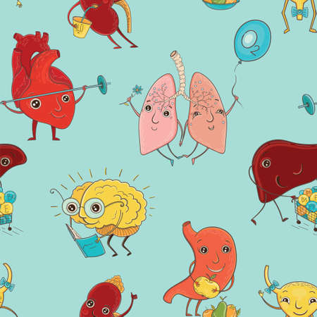 Vector seamless pattern with illustration of human organs. Cartoon background.