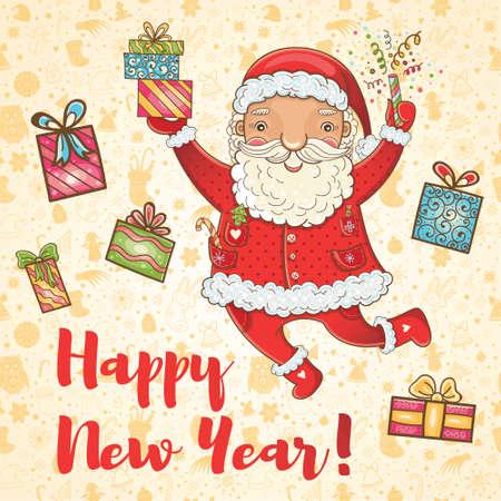 Handgetekende schattige illustratie. Gelukkig nieuwjaar!