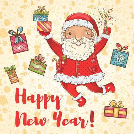 Hand-drawn cute illustration. Happy New Year!