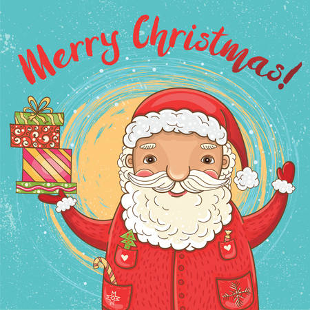 Vector cute Christmas card with funny, happy Santa Claus with gifts