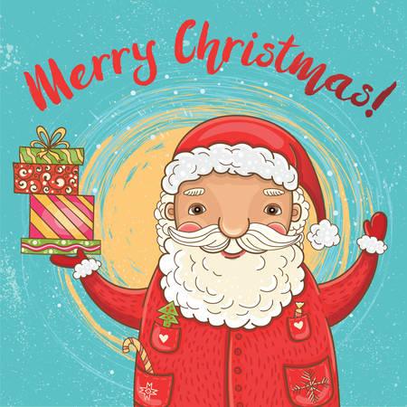 Vector leuke Kerstkaart met grappige, gelukkige kerstman met geschenken