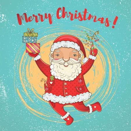 Vector leuke kerstkaart met grappige gelukkig stuiterende kerstman. Handgetekende kleuren heldere kerst sjabloon voor ontwerp. Vrolijk kerstfeest!