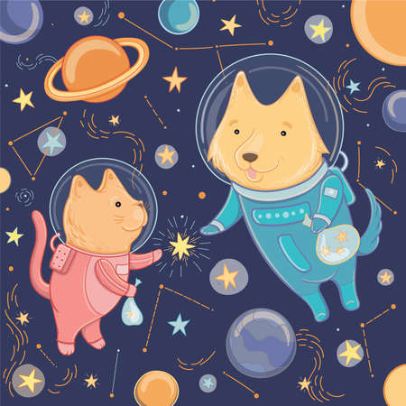 Vector illustration with cute dog and cat in space. Template for design. Illustration for the day of cosmonauts. Illustration