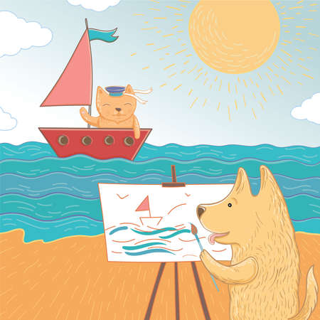 Vector illustration of a summer holiday at sea. Lovely dog and cat spend their holidays at sea. Template for greeting card.