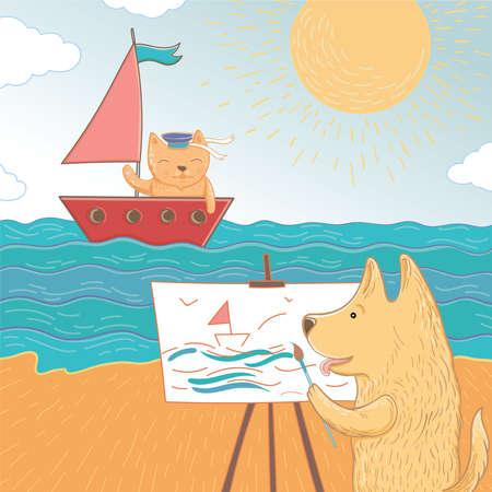 Vectorillustratie van een zomervakantie op zee. De mooie hond en de kat brengen hun vakantie op zee door. Sjabloon voor wenskaart.