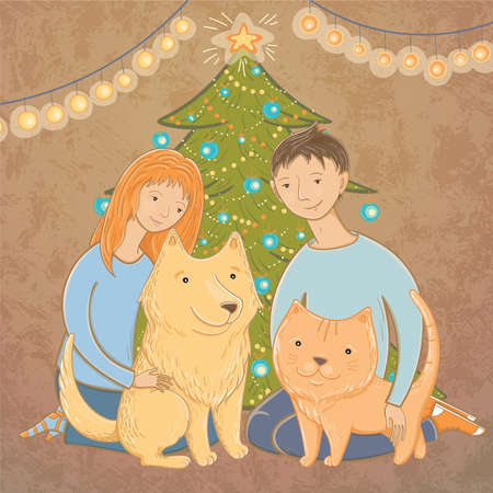 Vector illustration of a family near the Christmas tree. Christmas mood. A happy family. December. Helping homeless animals.