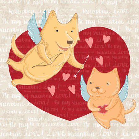Vector illustration of Cupid dog and cat, greeting valentine. Template for greeting cards. Illusztráció