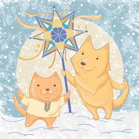 Vector illustratie van kerstliedjes met hond en kat. Illustratie van vriendschap en de winterpret, festiviteiten. Sjabloon voor wenskaart. Stock Illustratie