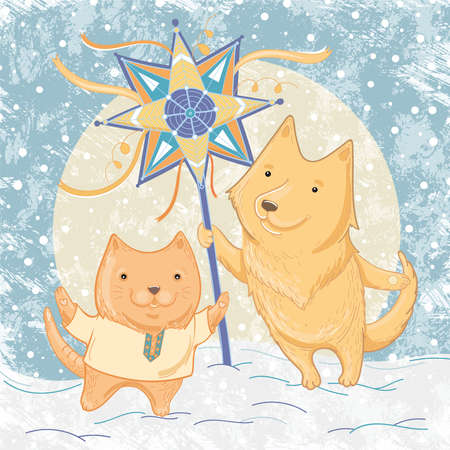 Vector illustration of Christmas carols with dog and cat. Illustration of friendship and winter fun, festivities. Template for greeting card.