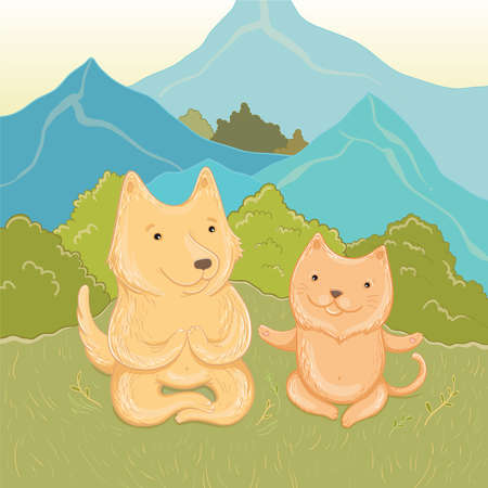 Vector illustration of summer holidays in the mountains. Cat and dog meditate in the mountains.Template for greeting card. Illustration