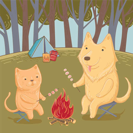 Vector illustration of a hike in the forest with a dog and a cat. Summer fun. Template for greeting card.