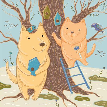 Vectorillustratie met schattige hond en kat die nestkastjes maken. De lente komt eraan! Sjabloon voor wenskaart. Stock Illustratie