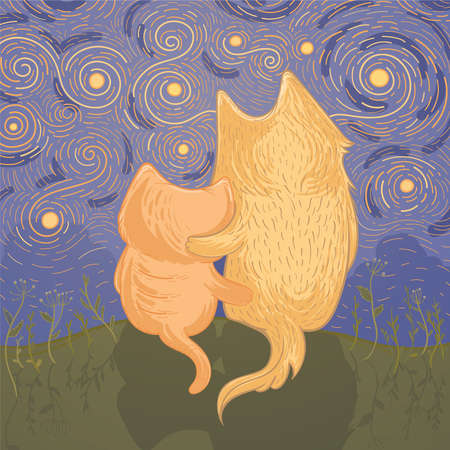 Vector Illustration mit nettem Hund und Katze, die den sternenklaren Himmel der Nacht bewundern Schablone für Grußkarte. Illustration der Freundschaft. Standard-Bild - 92856492