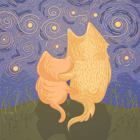 Vectorillustratie met schattige hond en kat die de nacht-sterrenhemel bewonderen. Sjabloon voor wenskaart. Illustratie van vriendschap. Stock Illustratie