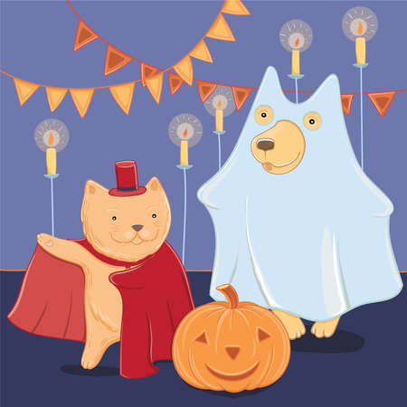 Vector illustration with funny dog and cat in Halloween costumes. Halloween fun for kids. Template for greeting card. Standard-Bild - 92856494
