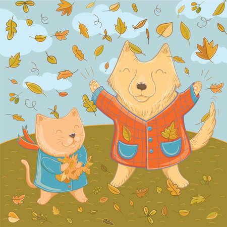 Vectorillustratie van september met grappige hond en kat. Herfstpret voor kinderen. Sjabloon voor wenskaart.