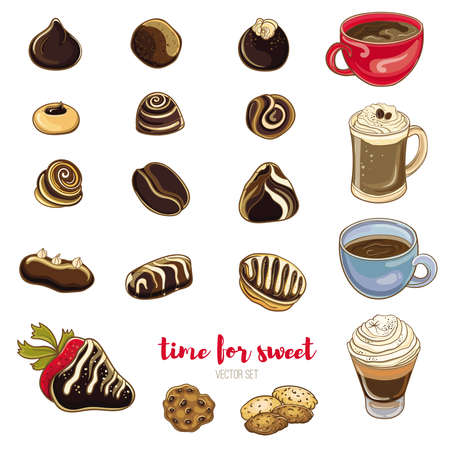 Set of chocolate candies, coffee and cookies. Bright vector illustration of sweets. Isolated objects. Time for coffee with candy.