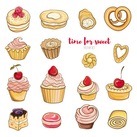 Set of cakes with cream vector illustration