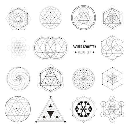 Heilige Geometrie-Vektor-Design-Elemente. Alchemie, Religion, Philosophie, Spiritualität, Hipster-Symbole und -Elemente. Vektor-Set. Vektorgrafik