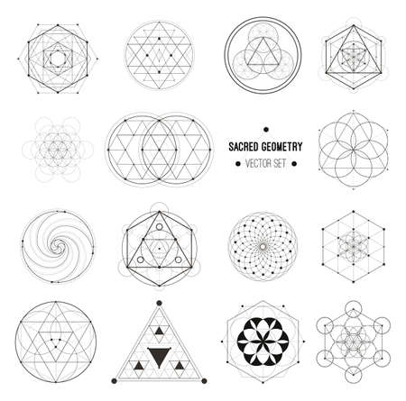 Sacred geometry vector design elements. Alchemy, religion, philosophy, spirituality, hipster symbols and elements. Vector set. Ilustrace
