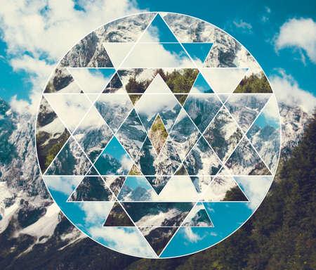 Abstract meditative collage with shri yantra. Harmony, spirituality, unity of nature. Reklamní fotografie - 127090243