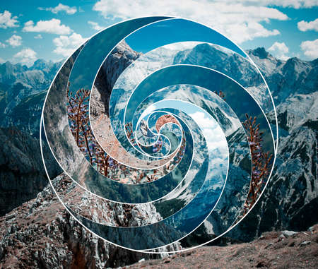 Abstract mosaic spiral collage pattern. Harmony, spirituality, unity of nature.