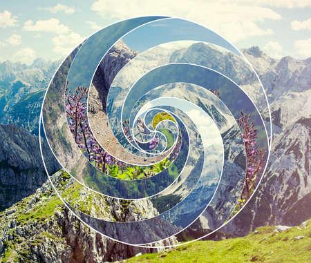 Modello astratto del collage a spirale del mosaico. Armonia, spiritualità, unità della natura.