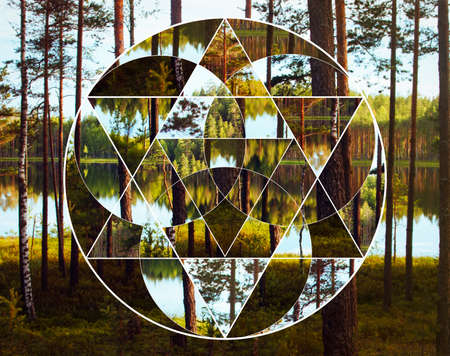 Geometric collage with the image of the nordic landscape. Abstract background with composition of sacred geometry, forest and lake. Harmony, spirituality, unity of nature. Stockfoto