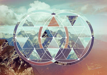 Geometric collage with the image of the mountain landscape. Abstract background with image of the sacred geometry. Harmony, spirituality, unity of nature