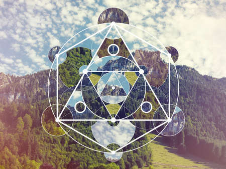 Abstract meditative collage with the sacred geometry symbol. Harmony, spirituality, unity of nature.