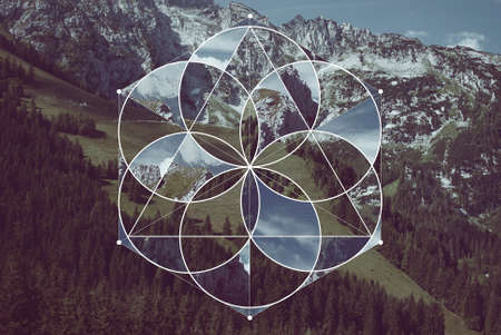 Abstract background with the image of the mountains, forest and meadow. Harmony, spirituality, unity of nature. Collage, mosaic with sacred geometry. Reklamní fotografie