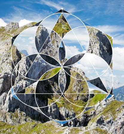 Abstract background with the image of the mountains, sky and rock. Harmony, spirituality, unity of nature. Collage, mosaic with sacred geometry.
